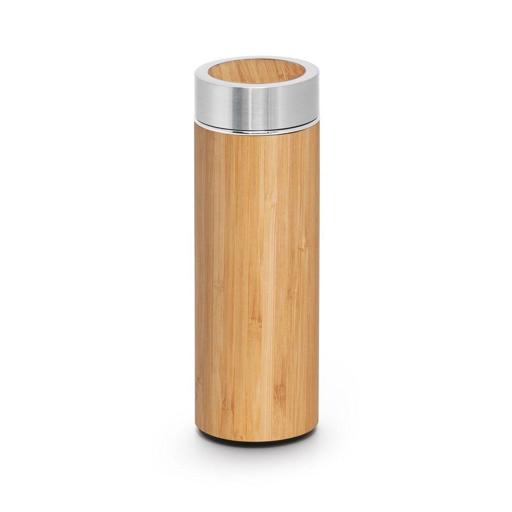NATUREL. Bambusová a nerezová termoska na čaj s dvojitou stěnou a čajovým sítkem Tato láhev má objem až 430 ml