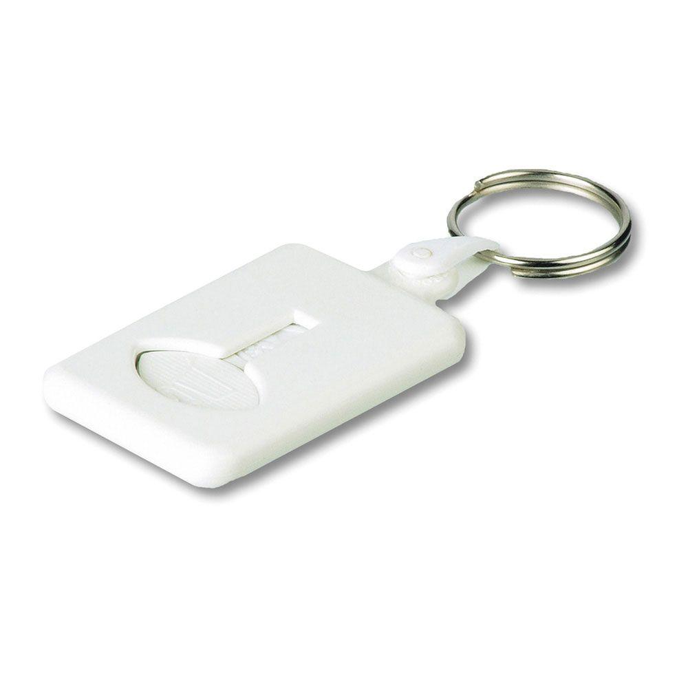 BUS. Plastová klíčenka v různých barvách se žetonem do nákupního košíku.