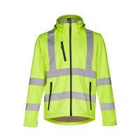 ZAGREB WORK. Vysoce viditelná softshellová bunda pro muže, se snímatelnou kapucí