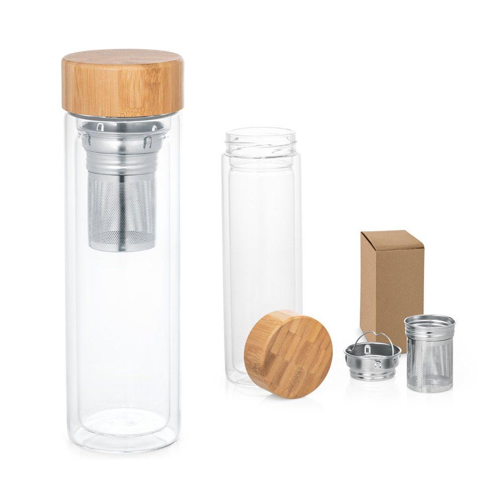 Borosilikátová skleněná lahev s dvojitou stěnou a bambusovým uzávěrem. Obsahuje dva infuzéry z nerezové oceli. Lahev má kapacitu až 490 ml. Po odstranění víčka je možné mýt v myčce. Dodáváno v papírov