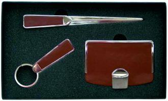 4401 Dárková sada: pouzdro na vizitky, klíčenku a otvírač dopisů