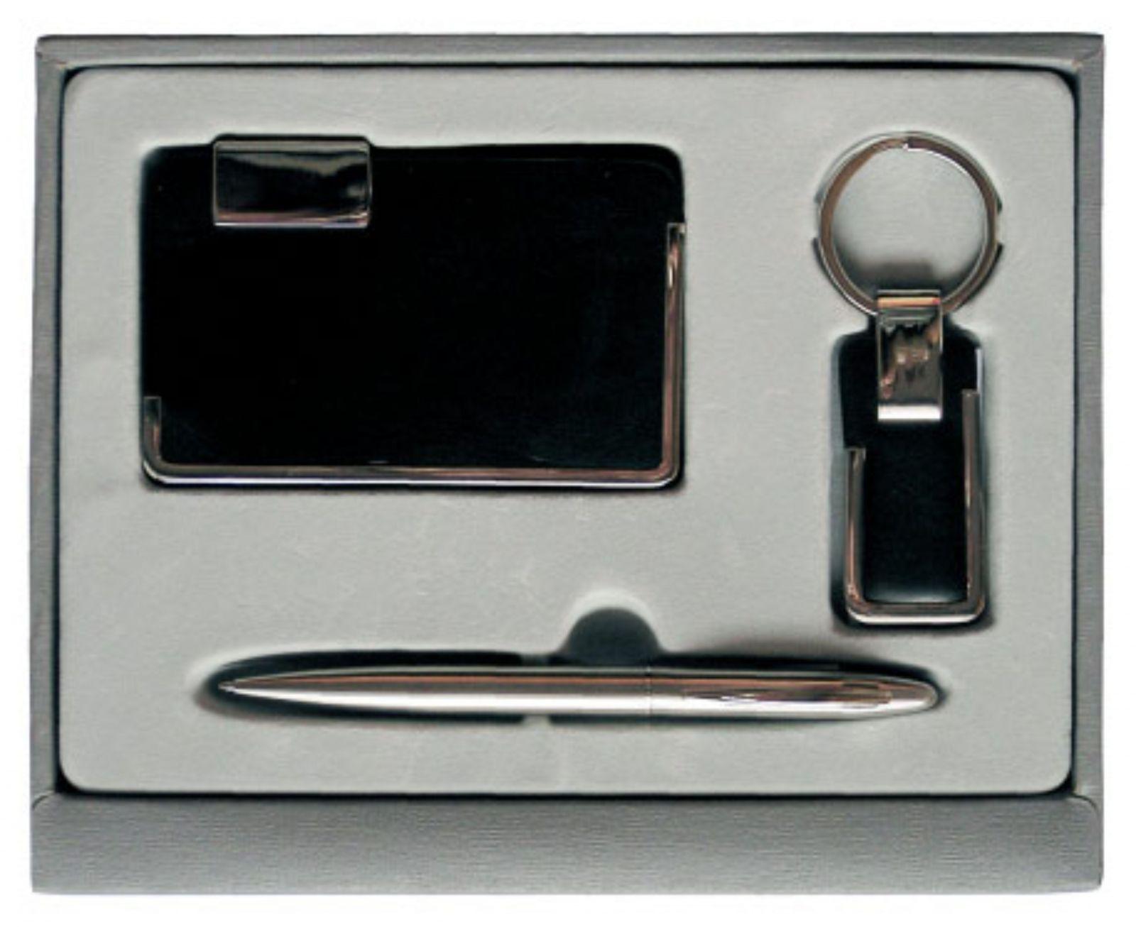 Dárková sada obsahuje vizitník, propisku a klíčenku.