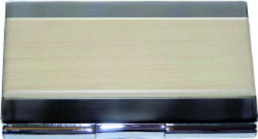 K83954 Kovové pouzdro na vizitky v kombinaci lesk, imitace dřeva