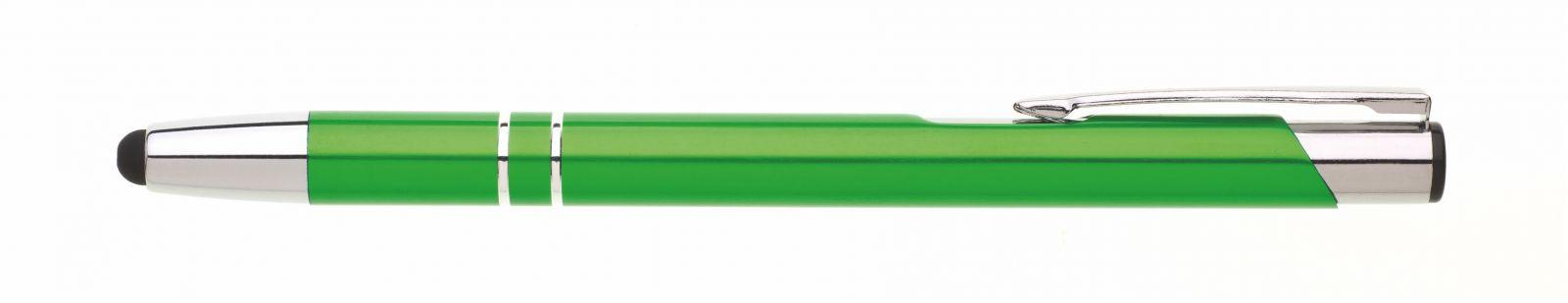 Kuličkové kovové zelené s dotykovým hrotem - možnost gravírování vašeho loga